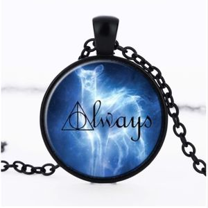 Jewelry - Harry Potter Blue ALWAYS Cabochon Black Necklace